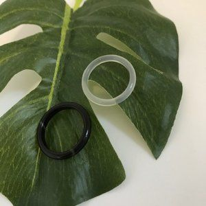 Agate Gemstone Ring Black Onyx  and Clear white